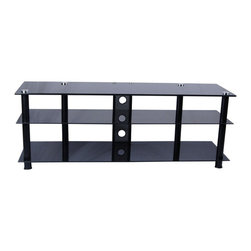 Tier One Designs - Black Glass and Aluminum TV Stand with Wire Management - 8mm tempered clear glass. Cord management optional. Easy to assemble. Holds up to 150 pounds.. 60.5 in. W x 17.75 in. L x 21.75 in. H. Assembly instructionsElegance and function combine to give this TV stand a striking appearance.   Plasma/LCD TV Stand features two thick 8mm black tempered glass shelves that provide ample storage space for your DVD, docking station, gaming and/or stereo components.   The cord management system reduces unsightly wires. Accessories not included.