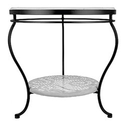 "Frontgate - Tortoise Fleur-de-Lis Double-Tiered Outdoor Side Table - Black, 18"" Round, Patio - Mosaic tabletops feature up to 3,500 tiles of opaque stained glass, marble and travertine organic and geometric tiles that are individually cut and placed by hand. Tops are cast into a proprietary stone blend allowing for striking beauty that years of exposure to the elements will not fade. Mosaic designs are simple to maintain by using a natural look penetrating sealer once or twice a year. Polyester powdercoat is electrostatically applied to aluminum chairs and table bases and then baked on for an impeccable, weather-resistant finish. Aluminum Seating is paired with element enduring Sunbrella cushions offered in a variety of coordinating colors (cushions sold separately). Our expressive and masterful Tortoise Fleur-de-Lis Mosaic Tabletops from KNF-Neille Olson Mosaics boast iridescent waves of color, deep sophisticated hues, fresh designs and durability measured in decades. These qualities separate Neille Olson's celebrated mosaic tabletops from the ordinary--giving each outdoor furniture piece its own unique character.. . . . . Note: Due to the custom-made nature of these tabletops, orders cannot be changed or cancelled more than 48 hours after being placed."