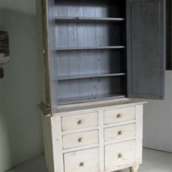 White 2 Piece Hutch With Drawers - Made by http://www.ecustomfinishes.com