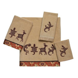 Avanti Linens - Segovia 4 Piece Cotton Towel Set by Avanti Linens - Bath towels are inspired by classic icons of the southwest. The kokopelli, lizard, deer and tortoise motifs of these towels against a rattan-colored ground are accented with a southwestern border adding a rich, warm touch to your bathroom d_cor. The color of the towels is tan.