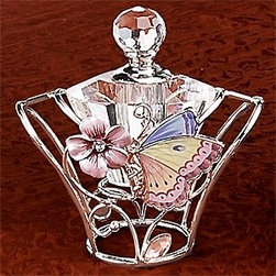 Artico - Lovely Pink Butterfly Perfume Bottle with Silver Colored Trim - This gorgeous Lovely Pink Butterfly Perfume Bottle with Silver Colored Trim has the finest details and highest quality you will find anywhere! Lovely Pink Butterfly Perfume Bottle with Silver Colored Trim is truly remarkable.