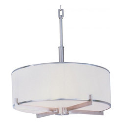 Maxim - Maxim Nexus Four Light Satin Nickel Foyer Hall Pendant - This Four Light Foyer Hall Pendant is part of the Nexus Collection and has a Satin Nickel Finish. It is Dry Rated.
