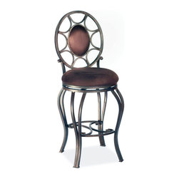 "Chintaly Imports - 30"" Swivel/Memory Return Stool - Features: Memory Swivel Seat; Oval back with upholstered inset; Constructed for Home or Commercial Usage; Base and back fully welded; Autumn Rust Finish; Brown Suede Seat and Back; Dimensions: 16""W x 15""D x 46""H"