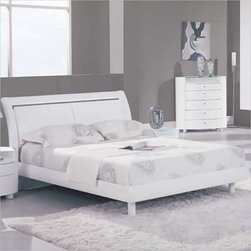 Global Furniture - Emily Queen Sleigh Bed in White - EMILY-WH-QB - Emily Collection Queen Bed