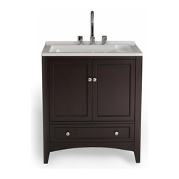 Stufurhome - Stufurhome Espresso Laundry 30.5 In. Single Bathroom Vanity Dark Brown - GM-Y01 - Shop for Bathroom from Hayneedle.com! The same size as a standard washing machine the Stufurhome 30.5-in. Espresso Laundry Single Bathroom Vanity is the most modern hand-washing machine on the market. Crafted with a durable wood base in a warm brown finish this laundry-room vanity is topped with a wide-lipped undermount ceramic sink. Three pre-drilled holes accommodate a faucet. Below enclosed cabinet space and a large storage drawer are ideal for cleaners dryer sheets and soaps.About StufurhomeBased in San Francisco Stufurhome boasts the best and broadest selection of well-designed well-crafted sink vanities and home furniture. Classic Venetian contemporary modern chic - Stufurhome has every vanity style in a variety of sizes to accommodate all modern bathrooms. Hand-carved moldings antiqued brass hardware fine finishes and hand-painted details add artistry to every piece.