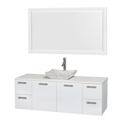 """Wyndham Collection - Amare 60"""" Vanity, White Stone, Avalon White Carrara Sink, 58"""" - Modern clean lines and a truly elegant design aesthetic meet affordability in the Wyndham Collection Amare Vanity. Available with green glass, acrylic resin or pure white man-made stone counters, and featuring soft close door hinges and drawer glides, you'll never hear a noisy door again! Meticulously finished with brushed chrome hardware, the attention to detail on this elegant contemporary vanity is unrivalled."""