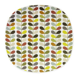 """Orla Kiely - Orla Kiely Squared Edge Multi Stem Side Plate - Set of 4 - Porcelain squared edge side plate set featuring Orla Kiely's signature Multi Stem print. Microwave and dishwasher safe. Made in Thailand. Sold as a set of 4 plates.  Measures: 7.875"""" x 7.875"""""""