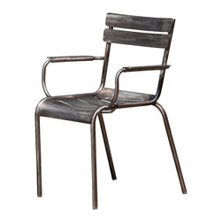 Nuevo Living - Mercel Dining Arm Chair in Gun Metal Aluminum by  Nuevo - HGMS216 - The Mercel Dining Arm Chair in gun metal aluminum by Nuevo features an aluminum frame and is perfect for indoor or outdoor use.   Lightweight but sturdy, the Mercel can be used for both residential or commercial needs like restaurants.