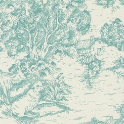 Orien Textile - Ort Toile Fabric, Pool - Screen printed on cotton this fabric is perfect for decorating. Colors include grass and ivory. This fabric is great for throw pillows, duvet covers, draperies, valances or light upholstery. Try your hand with tote bags and handbags