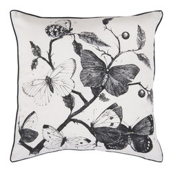 Surya Rugs - Butterfly White 18 x 18 Pillow - Life-like butterflies are the centerpiece of this pillow. Centered around natures beauty, this pillow brings a soft tone to any room. Colors of white and coal black accent this decorative pillow. This pillow contains a poly fill and a zipper closure. Add this pillow to your collection today.  - Includes one poly-fiber filled insert and one pillow cover.   - Pillow cover material: 100% Polyester Surya Rugs - HH122-1818P