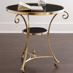 """Global Views - Black Granite Side Table - BRASS/BLACK - Global ViewsBlack Granite Side TableDetailsFrame made of natural brass.Granite top and shelf.One shelf.30""""Dia. x 30""""T.Imported.Boxed weight approximately 109 lbs. Please note that this item may require additional delivery and processing charges."""