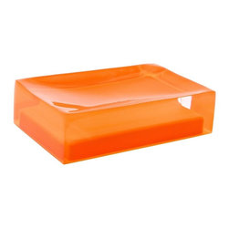 Gedy - Decorative Orange Soap Holder - Decorative rectangle soap holder made in thermoplastic resin. Available with an orange finish. Soap dish made of thermoplastic resins. Shape is rectangular. Orange finish. From the Gedy Rainbow collection.