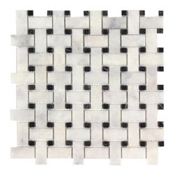 All Marble Tiles - Bianco Carrara Polished Marble Basket weave with Nero Marquina Dots 12x12 - The Bianco Carrara collection or white Carrara Collection allows you to play with colors for your interior. Besides getting a lovely option of pure white on tile, this collection also features a white grey hue to try. With these two colors you can create a modern or classic looking theme in your home according to preference.