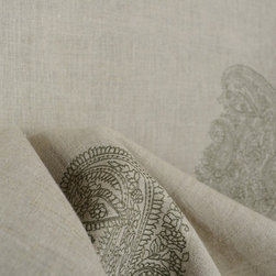 Taj Silversage Embroidered Medallion Linen Fabric - Taj Silversage is an embroidered Summerhill fabric.  Large open medallion design on a linen base.  This fabric would make a great statement in any room.  Use to cover furniture, a headboard, cornice boards or as window treatments.  Originally priced around $60 per yard, this fabric is a bargain and will give you a designer look.