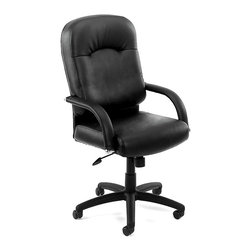 """BOSS Chair - High Back Desk Chair In Black w Lumbar Suppor - Choose Option: w/o Knee TiltMeticulous attention to detail and an efficient design are just a few highlights on this high back office chair. It also includes black Caressoft upholstery for added softness, durable nylon base, adjustable seat height control and dual casters to get you where you need to go. Beautifully upholstered with ultra soft and durable Caressoft upholstery. Extra lumbar support. Padded armrests covered with Caressoft upholstery. Solid 27"""" nylon base with casters. Hooded double wheel casters. Upright locking position. Pneumatic gas lift provides instant seat height adjustment. Adjustable tilt tension control. Optional knee-tilt mechanism available (B7402). Matching guest chair with cantilever base (B7409). Cushion color: Black. Base/wood: Black. Seat size: 22 in. W x 22 in. D. Seat height: 19 in. -22.5 in. H. Arm height: 24 in. -27.5 in. H. Overall dimension: 27 in. W x 28.5 in. D x 43-46.5 in. H. Weight capacity: 250 lbs"""