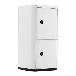 Futuristic Square Cabinet in White - Welcome to your organized future.  This square storage cabinet features two spacious compartments for hiding away bathroom toiletries, bedside books, or office supplies.  The possibilities are endless, really.  Plus it adds an ultra-modern touch to your décor.