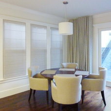 Contemporary Roman Shades by Stitch Custom Furnishings