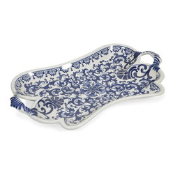 iMax - iMax Tollmache Large Tray X-84898 - In a style reminiscent of New Burleigh and antique transferware, the Tollmache tray has a subtle, sophisticated oriental inspiration mixed with modern technique that makes it a one of a kind accent for any home.