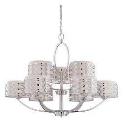 Nuvo Lighting - Nuvo Lighting 60-4630 Harlow 9-Light Chandelier with Slate Gray Fabric Shades - Nuvo Lighting 60-4630 Harlow 9-Light Chandelier with Slate Gray Fabric Shades