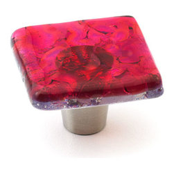 "Windborne Studios - Pearl Glass Knobs and Pulls, Pink, 1.5"" Square - Windborne Studios creates beautiful handmade glass decorative hardware."