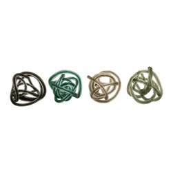 iMax - iMax Large Glass Rope Knots - Set of 4 X-4-81359 - Contemporary in style, this set of four large glass rope knots look great as table top accents or bowl filler in cool and neutral tones.