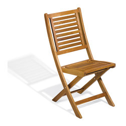 "Oxford Garden Capri Acacia Folding Chair (Pair) - Sold only and priced above as a pair, this beautiful Capri Folding Chair was designed with storage space in mind. The beautiful Acacia wood chair is a functional and stylish alternative to ugly metal folding chairs. Features vertical slats on the back and seat with a slightly curved design for added comfort! This sturdy, weather resistant chair is perfect for outdoor use! Mortise and tenon joinery and stainless steel hardware makes this chair the sturdy choice. The absence of arms and the curved design makes storing these folding chairs a breeze! Keep several of these chairs on hand for unexpected company or use for large outdoor gatherings! Dimensions: 17 _"" L x 24 _"" D x 37 _"" H"