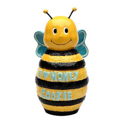 "ATD - 10 Inch Yellow and Black Bumble Bee ""I Love Honey"" Cookie Jar - This gorgeous 10 Inch Yellow and Black Bumble Bee ""I Love Honey"" Cookie Jar has the finest details and highest quality you will find anywhere! 10 Inch Yellow and Black Bumble Bee ""I Love Honey"" Cookie Jar is truly remarkable."
