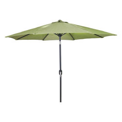 Lamps Plus - Traditional Olive 9' Steel Market Umbrella - Olive 9' Steel Market Umbrella. Olive steel umbrella. Olive finish. Steel frame construction. Polyester canopy. Equipped with a crank and tilt option. 9 feet round. 8 feet high.  Olive steel market umbrella.  Olive finish.  Steel frame construction.  Polyester canopy.  Equipped with a crank and tilt option.  9 feet round.  8 feet high.