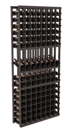 Wine Racks America - 8 Column Display Row Wine Cellar Kit in Redwood, Black + Satin Finish - Make 8 of your best vintages a focal point in your wine cellar. This display rack can store up to 11 wine cases. Features our industry exclusive solid display trays with high-reveal. Our wine cellar kits are designed to emphasize durability and elegance. You'll be satisfied. We guarantee it.