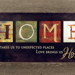 "MyBarnwoodFrames - Love Brings Us Home Marla Rae Art Print Framed in Distressed Wood - Framed Print: HOME - Life takes us to unexpected places. Love brings us home. A Marla Rae print features colorful block letters that spell out the word, ""HOME."" Print is framed in natural reclaimed wood, with all the knots, holes and distressing common to barnwood picture frames. You'll love the character of the aged wood, which can be painted to match your decor."