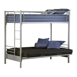 Hillsdale - Hillsdale Universal Youth Twin over Futon Bunk Bed in Silver Finish - Hillsdale - Bunk Beds - 1178BBF - The Universal Youth Futon Bunk Bed has metal construction in a silver finish. This twin over futon bunk bed features a built-in ladder top guardrails and a simple streamlined look. With modern design elements the Universal Youth Futon Bunk Bed offers a lasting appeal you and your kid will enjoy for many years. The silver and navy Universal youth bedroom offers super solutions for any kid's room whether you choose the traditional bed the bookcase headboard with under bed storage the Loft bed or bunk beds. Add any combination of case goods to create the perfect home base for your child tween or teen.