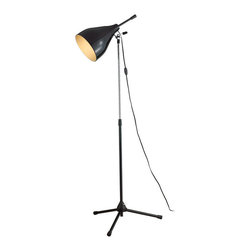 Soloist Lamp - You're the star in your home, and here's your spotlight. The lamp has a lovely contrast of matte black with gleaming chrome, and both height and angle are adjustable.