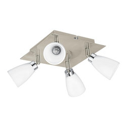"""Eglo Lighting - Contemporary Cariba Nickel - Chrome Adjustable 4-Light Ceiling Light - Four fully adjustable lights with opal frosted glass shades offer warm directional illumination. Finished in a matte nickel and chrome for a sleek polished look. From Eglo Lighting. Matte nickel and chrome finish. Opal frosted glass. Fully adjustable heads. Includes four 40 watt halogen bulbs. Line voltage. 8 1/4"""" wide. 4"""" high. 8 1/4"""" deep.  Matte nickel and chrome finish.  Opal frosted glass.  Fully adjustable heads.  Includes four 40 watt G9 halogen bulbs.  Line voltage.  8 1/4"""" wide.  4"""" high.  8 1/4"""" deep."""