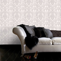 Graham & Brown - Montague Wallpaper - A rich, damask heavyweight wallpaper with an intricate emboss which creates the effect of fabric. The gold and silver highlights add to this, resulting in an antique finish. This silver colourway would make a great feature wallpaper, or use on all four walls to make a grand statement.