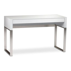 BDI - Cascadia Console/Laptop Desk by BDI - In smaller work spaces, the BDI Cascadia Console/Laptop Desk acts as a slim console table to extend the surface of the Cascadia Desk. Or--if you're really tight on space--it can be your sole desk. The narrow yet lengthy surface easily accommodates a laptop and needed office supplies, with a full-length drawer providing even more discreet storage. Doesn't your TV deserve the best? Under the ongoing direction of founder Bill Becker, BDI home theater and office furniture have been making audio, visual and computer technology--not to mention the modern settings around it--look good since 1984. With clean lines and precise engineering, BDI furniture is both highly contemporary and functional, as much a pleasure to look at as it is to use.