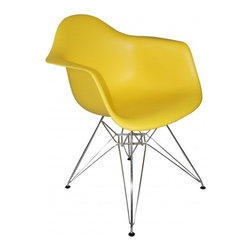 """2 Eiffel Molded Chrome Arm chairs, Yellow - This versatile, contemporary chair is a barebones take on the shape of an armchair. The seat of Eiffel chair is made from a very heavy-duty, strong plastic with a matte finish and is supported by an equally strong steel base, which is covered with a layer of high-shine chrome. The eiffel wire base chair has an """"Eiffel Tower"""" style steel base and plastic shell seat. Four black feet are included to protect hardwood flooring. Very up-to-date, your inner sense of style will revel in the trendiness of this chair. Add several Eames Era Eiffel Base Side Chairs around your kitchen table, and watch as the room is instantly transformed with a classic retro-inspired look. This versatile chair is a popular choice for kitchens, and works just as well as additional seating in the living room, bedroom, or office."""