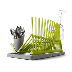 Black + Blum - High & Dry Dish Drainer, Lime - Elevate your everyday with beautifully designed necessities — this architecturally inspired dish rack being a case in point. It's as functional as it is attractive, with spikes that hold your most delicate glassware securely upright and a truly ingenious draining tray.