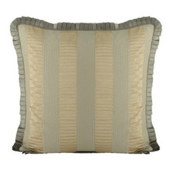"Legacy Home - Legacy Home Striped European Sham with Pleated Ruffle & Silk Reverse - We love the textures, tones, and simple details of ""Bouchon"" bed linens in sage and gold. Made in the USA of imported fabrics by Legacy Home. Dry clean. Damask and striped linens are rayon/polyester/acrylic/cotton. Corded duvet covers have a cotton/p..."