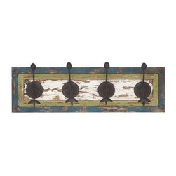 """Benzara - Wall Hook in Rectangular Shaped and White Wooden Board - Wall Hook in Rectangular Shaped and White Wooden Board. Add to your settings the charm and elegance of classic designs with this wood metal wall hook 28""""W, 9""""H. It comes with a following dimensions 28""""W x 5""""D x 9""""H."""