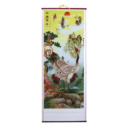 Oriental-Décor - Subtle Cranes Chinese Scroll - A pair of Chinese cranes, male and female, nest in the high branches of a bright and colorful sakura tree with pink cherry blossom flowers. Cranes are said to mate for life and represent longevity, faithfulness and stability in Asian culture. The crane has long been a staple feature in Chinese artwork and makes for a beautiful subject. Add this majestic scroll to any area in your home for lovely Asian decor.