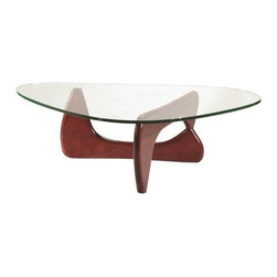 Fine Mod Imports - Fine Mod Imports Tribeca Coffee Table in Dark Walnut - This table consists of three basic parts a beautiful glass top and two interlocking wood base pieces. This classic design was first produced in 1944