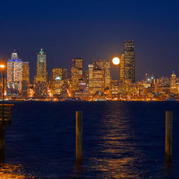 Murals Your Way - Seattle Moonrise Wall Art - Seattle, as seen from the Alki peninsula, is a glittering jewel of twinkling lights