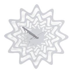 Progetti - Flux 2090 White Wall Clock - Wall clock in painted steel. Battery quartz movement.