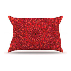 "Kess InHouse - Patternmuse ""Mandala Spin Romance"" Red Geometric Pillow Case, King (36"" x 20"") - This pillowcase, is just as bunny soft as the Kess InHouse duvet. It's made of microfiber velvety fleece. This machine washable fleece pillow case is the perfect accent to any duvet. Be your Bed's Curator."