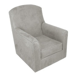 Rockabye Glider Co. Velvet Lara Glider Chair, Steel Gray - I love this velvety gray rocker. It would be fabulous with a colorful throw draped over the top.