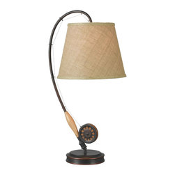 Design Craft - Fishing Rod Table Lamp - Provide a nice place to read a book with this charming bronze table lamp. Designed to look like a fishing pole,this lamp would look great in a den or cabin. Those that enjoy fishing will appreciate the attention to detail on this single-light lamp.