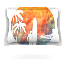 """Kess InHouse - Micah Sager """"Waiting"""" Orange White Pillow Sham (Cotton, 40"""" x 20"""") - Pairing your already chic duvet cover with playful pillow shams is the perfect way to tie your bedroom together. There are endless possibilities to feed your artistic palette with these imaginative pillow shams. It will looks so elegant you won't want ruin the masterpiece you have created when you go to bed. Not only are these pillow shams nice to look at they are also made from a high quality cotton blend. They are so soft that they will elevate your sleep up to level that is beyond Cloud 9. We always print our goods with the highest quality printing process in order to maintain the integrity of the art that you are adeptly displaying. This means that you won't have to worry about your art fading or your sham loosing it's freshness."""