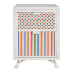 Little Miss Matched - LittleMissMatched SWITCHaroo Nightstand - The SWITCHaroo nightstand has a white steel frame and features two drawers with two reversible panels in bright polka dots, stripes and solids so you can customize according to whim. Leg assembly required.
