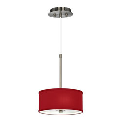 "Lamps Plus - Contemporary China Red Textured Silk 10 1/4"" Wide Ceiling Pendant - A sophisticated and elegant look this ceiling pendant looks great in seating areas over kitchen counters and more. The design features a beautiful textured silk fabric drum shade in China Red. The shade is made-to-order and is hand-assembled by our artisans in California. A white acrylic diffuser at the bottom of the pendant fixture prevents glare and provides even lighting. The design is also an energy miser and includes energy efficient CFL bulbs. Canopy and accents are in a sleek brushed steel finish. 1/8"" thick acrylic diffuser. Includes two 13 watt GU24 CFL bulbs. 10"" wide. Shade and support rod are 14 3/4"" high. Shade only is 10"" wide 4 1/4"" high. Canopy is 6"" wide. Includes 10-feet of adjustable cord.  Hand-assembled shade.  Red textured silk shade material.  White acrylic diffuser.  Brushed steel finish.  1/8"" thick acrylic diffuser.   Includes two 13 watt GU24 CFL bulbs.   Shade and support rod are 14 3/4"" high.   Shade only is 10 1/4"" wide 4 1/4"" high.   Canopy is 6"" wide.  Adjustable hang height.  Includes 10-feet of cord."