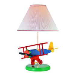 Lite Source - Lite Source 3AP20107 Children / Kids Airplane / Bi-Plane Table Lamp Lit - Single Light Children / Kids Airplane Table Lamp from the Lite Source Kids CollectionFeatures:
